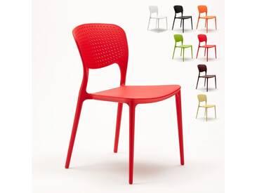 Chaise cuisine bar café polypropylene emplilable interiors exteriors GARDEN GIULIETTA | Rouge