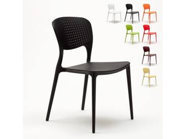 Chaise cuisine bar café polypropylene emplilable interiors exteriors GARDEN GIULIETTA | Noir