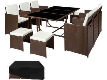 Salon de Jardin MALAGA Ensemble avec 6 Chaises 4 Tabourets et 1 Table en Résine Tressée et Acier avec 1 Housse Marron