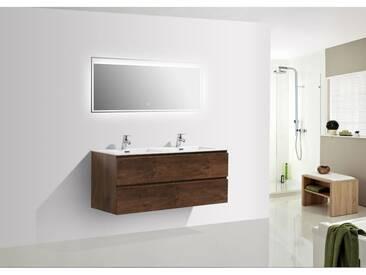 Meuble salle de bain Alice 1200 aspect bois foncé - Miroir en option: Avec miroir LED 2073, Mat