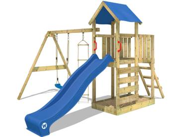 Aire de jeux WICKEY FastFlyer portique en bois, balançoire, mur descalade et toboggan, blue