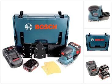 Bosch Professional GSS 18 V-10 Ponceuse vibrante sans fil avec boîtier L-Boxx + 2 x Batteries GBA 6,0 Ah + Chargeur rapide GAL 1880 CV