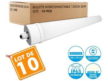 Lot de 10 Reglettes Interconnectables LED Etanche 120cm 36W IP65 4000k