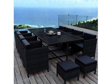 MUNGA 12 Places - Ensemble encastrable salon / table de jardin résine tressée-Noir/Noir