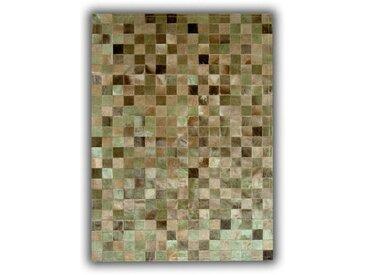 Tapis patchwork beige en peau de vache du Maquis Beige 120x180