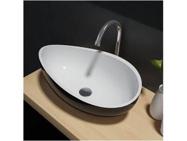 Vasque à poser Wave PB2001B en pierre solide (Solid Stone) – 60 x 37 x 21 cm - couleur en option: Sans couvercle suppl., Noir / Blanc