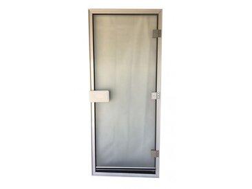 Porte de hammam 185,5 x 78 cm transparente verre sécurite 8mm avec seuil