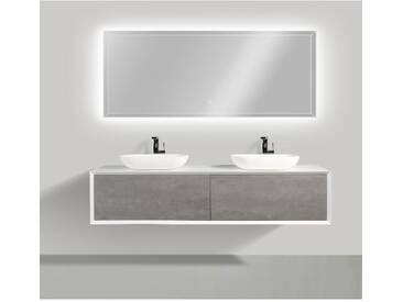 Ensemble de salle de bain en bois MDF Fiona 1800 blanc mat - Façade aspect béton - miroir et vasque en option: Sans miroir, Sans couvercle suppl., Sans vasque à poser