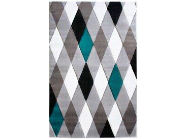 Tapis scandinave pour salon géométrique Lucie Bleu 160x230