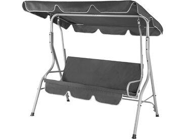 Balancelle de jardin terrasse - Anthracite - 3 personnes - Cadre en acier - Max 250Kg - Toit réglable avec protection UV