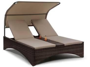 Blumfeldt Eremitage Double Lounger Chaise longue pour 2 aluminium & rotin - gris