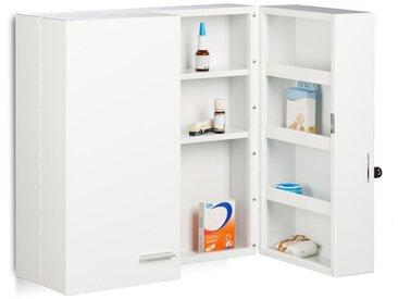 Armoire à pharmacie XXL en métal acier 2 portes fermables blanc 11 compartiments HxlxP: 53 x 53 x 20 cm, blanc