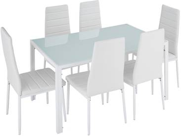 Ensemble de Salle à Manger, 1 Table et 6 Chaises de Salle à Manger de Cuisine Design Blanc