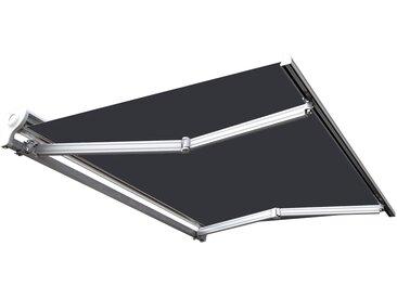 Store banne manuel Demi coffre pour terrasse - Blanc métallisé - Gris - 3 x 2,5 m