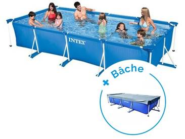 Pack Piscine tubulaire Intex MetalFrame Junior 4,50 x 2,20 x 0,84 m + Bâche
