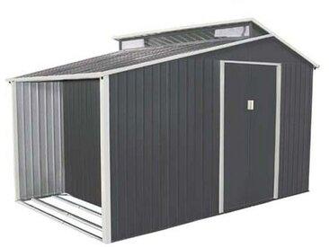 Abri de jardin avec bûcher en métal 6,00 m² + kit d'ancrage inclus