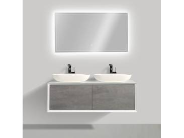 Ensemble de salle de bain en bois MDF Fiona 1200 blanc mat - Façade aspect béton - miroir et vasque en option: Sans miroir, Sans couvercle suppl., Sans vasque à poser