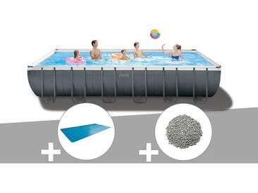 Kit piscine tubulaire Intex Ultra XTR Frame rectangulaire 7,32 x 3,66 x 1,32 m + Bâche à bulles + 20 kg de zéolite
