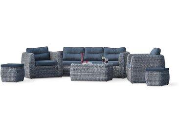 Salon BAHAMAS 7P: 1 table basse + 1 canape 3P + 2 fauteuils + 2 poufs en resine tressee type bananier - GRIS