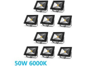 10×Anten 50W Projecteur LED Extérieur Spot LED Ultra-Mince IP65 Étanche Éclairage de Sécurité Puissant Lampe Blanc Froid 6000K