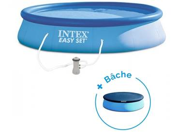 Pack Piscine autoportée Easy set Intex 3.96 x 0.84 m + Bâche