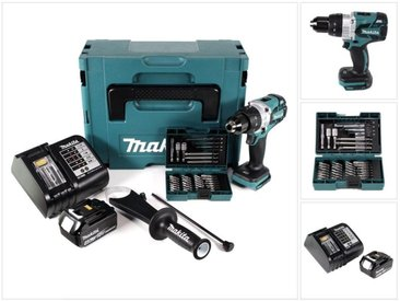 Makita DDF 481 ST1J 18 V Perceuse visseuse sans fil Brushless 115 Nm + 1 x Batterie BL 1850 B 5,0 Ah + Chargeur DC 18 SD + Coffret MakPac + Kit de 38 forets et embouts