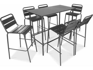 Table haute de jardin en métal gris et 6 tabourets