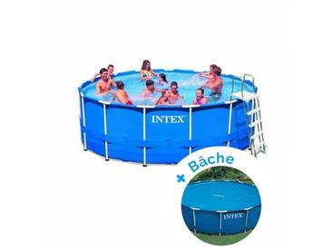 Pack Kit piscine tubulaire Intex MetalFrame 4,57 x 1,22 m + Bâche