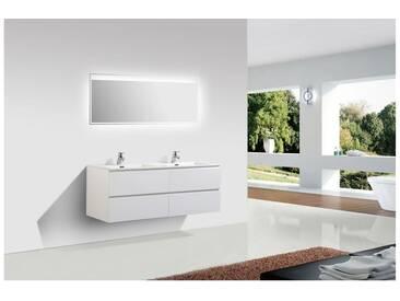 Meuble salle de bain Alice 1380 blanc mat - Miroir en option: Avec miroir LED 2073, Mat