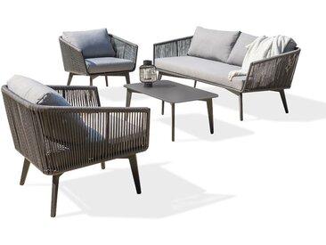 Salon FLORENCE 5P: 1 table basse + 1 canape 3P + 2 fauteuils en aluminium et corde, plateau de table HPL reversible - GRIS