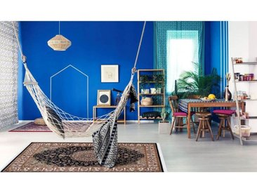Tapis oriental en polyester avec franges Lakos Bleu marine 240x330