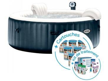 Spa gonflable Intex PureSpa Plus Bulles 4 places + 12 cartouches + Kit de traitement au brome