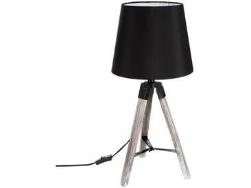 Lampe à trépied noire Runo en bois - E27 - 60 cm