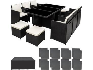 Salon de jardin NEW YORK - 6 Chaises, 4 Tabourets, 1 Table en Résine Tressée structure Aluminium Noir