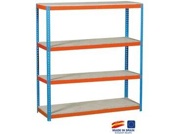 SimonRack - Etagère de rangement 2000x1800x600mm bleu/orange/bois charge 600 Kg - Simonforte 1806-4 Chipboard
