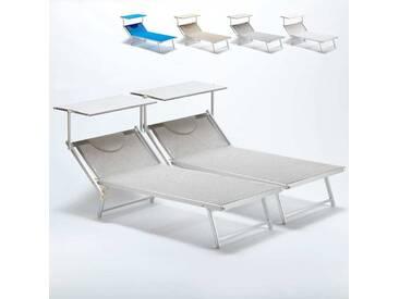 2 Bain de soleil XXL professionnels chaises longue piscine transat aluminium ITALIA Extralarge   Gris