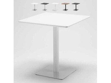 Table carrée 70x70 pour bars restaurants hôtels base centrale HORECA | Blanc - Verni Blanc