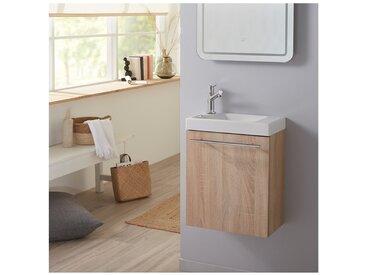 Meuble lave-mains complet couleur chêne Oak bordolino avec mitigeur eau chaude/eau froide