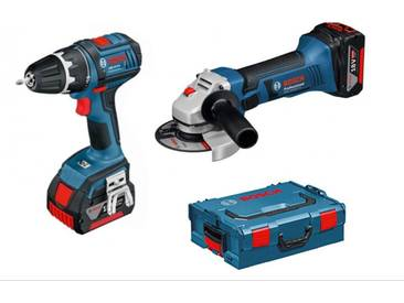 Pack Bosch Professional Perceuse GSR 18V-28 + Meuleuse GWS18-125 + chargeur + 3 Batteries 3.0 AH + Coffret Box