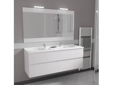 Meuble ROSALY 140 cm avec plan vasque et miroir - Blanc brillant