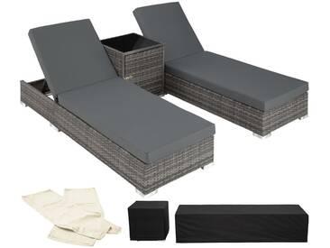 Ensemble de 2 Bains de soleil en Aluminium & Résine Tressée + Table + Housse de protection Gris