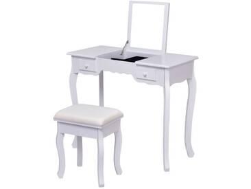 Coiffeuse Et Tabouret Table De Maquillage Avec Miroir Rabattable,2Tiroirs  Et Un Rangement Pour Bijoux