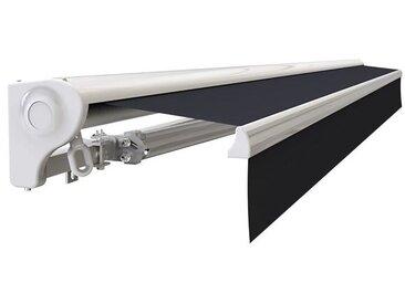 Store banne Demi coffre motorisé et manuel pour terrasse - Blanc métallisé - Gris - 3,6 x 3 m