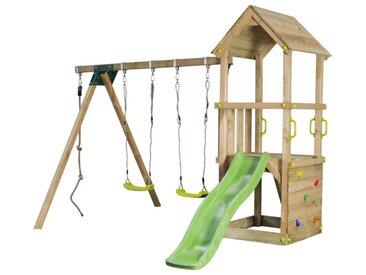 Aire de jeux 3-12 ans, toboggan vert pomme avec ruissellement d'eau, mur d'escalade, 2 balancoires reglables, 1 corde a noeuds, bac a sable