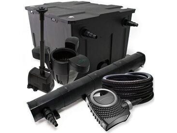 Kit de filtration avec Bio Filtre 60000l, 72W Stérilisateur, 80W Pompe de Fontaine, Skimmer et Tuyau
