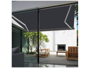 Store banne extérieur coffre intégral motorisé et manuel pour terrasse - Blanc métallisé - Gris anthracite - 4 x 3,5 m