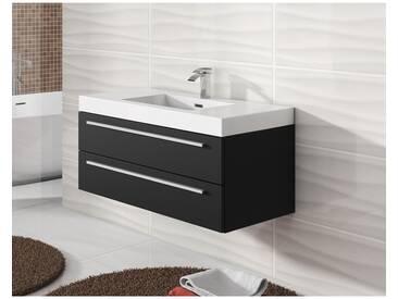 Meuble de salle de bain Rome 100cm lavabo bois noir – Armoire de rangement Meuble lavabo
