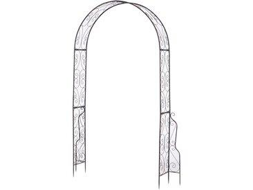 Arche de jardin arche à rosiers style fer forgé dim. 120L x 30l x 226H cm métal époxy noir vieilli cuivré