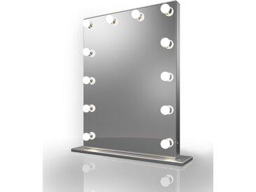 Miroir de Maquillage Hollywood Diamond X Bordure Argent LED Blanc froid k83MCW - Couleur LED : Ampoules LED blanches froides
