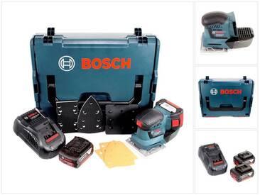 Bosch Professional GSS 18 V-10 Ponceuse vibrante sans fil avec boîtier L-Boxx + 2 x Batteries GBA 3,0 Ah + Chargeur rapide GAL 1880 CV